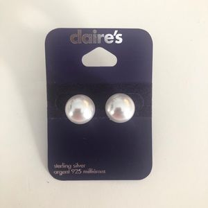 Claire's Sterling Silver White Pearl Stud Earrings